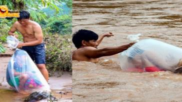 Viral Anak Seberangi Sungai Pakai Plastik Agar Bisa Pergi Sekolah