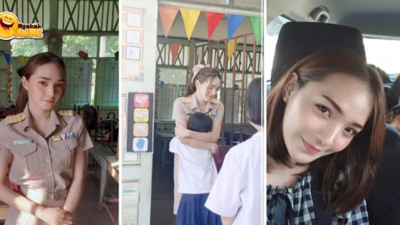 Guru Cantik Viral Asal Thailand ini Sapa Muridnya dengan Pelukan